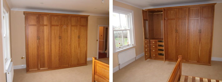 Clothes hanging space, storage compartments, shelves and sliding trays ...